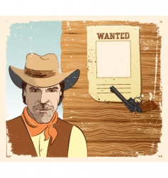 Cowboy and gun vector