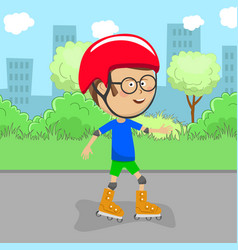 Cute little boy on rollers skates in city park vector