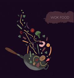 Detailed colorful drawing of wok and seafood vector