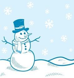 doodle snowman winter scene vector image vector image