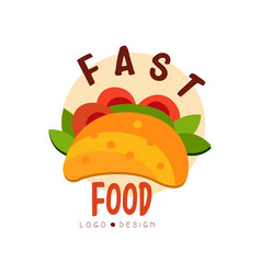 fast food logo design badge with tacos sign vector image