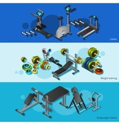 Fitness equipment posters set vector