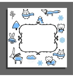 Greeting card template with winter pattern vector