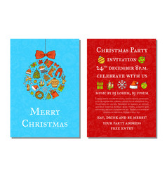 hand drawn colored christmas party vector image vector image