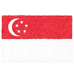 Hand drawn of flag of singapore vector