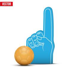 Handball sports fan foam fingers and ball vector