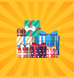 Happy birthday banner with colorful gift box vector