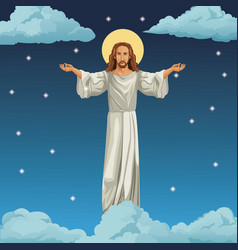 Jesus christ religious image night background vector
