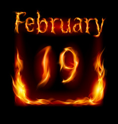 nineteenth february in calendar of fire icon on vector image vector image