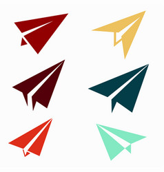 Paper airplane icons vector