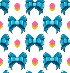 Seamless pattern cute cartoon bows-5 vector image vector image
