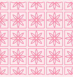 Seamless pattern with abstract pink flowers on a vector
