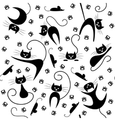 Seamless pattern with black cats paw prints and vector image