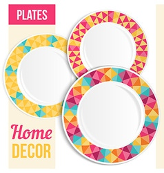 Set of 3 matching decorative plates vector image