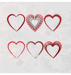 set of scribble hearts vector image