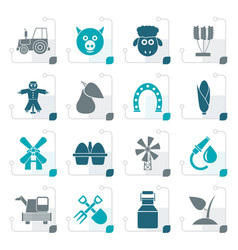 stylized agriculture and farming icons vector image vector image