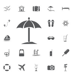 sun umbrella icon summer set vector image