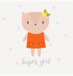 super girl cute little kitty greeting card or vector image vector image