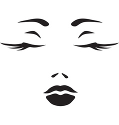 Symbol monochromatic face of woman vector