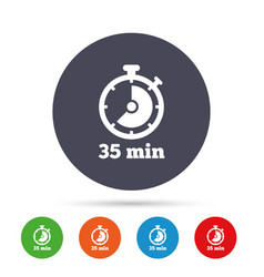 Timer sign icon 35 minutes stopwatch symbol vector