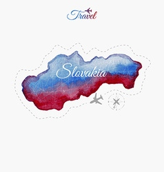 Travel around the world slovakia watercolor map vector