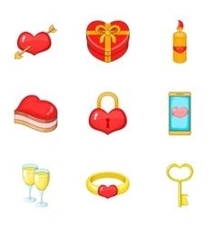 Valentine elements icons set cartoon style vector