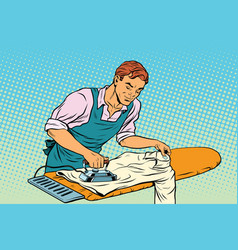 Vintage employee ironed clothes vector