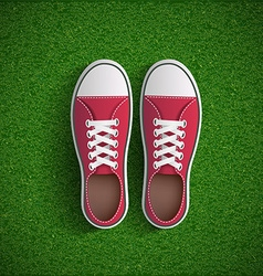 Vintage sneakers standing on green grass vector image vector image