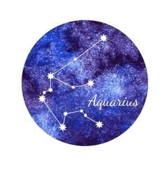 Watercolor horoscope sign aquarius vector