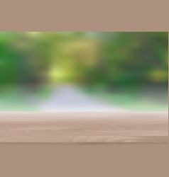 Wood table top on abstract blur natural green vector