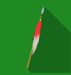 Wooden spear with metal tipmongol tatar national vector