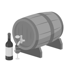 Wooden wine barrel icon in monochrome style vector