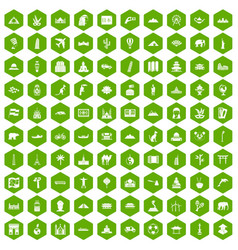 100 world tour icons hexagon green vector