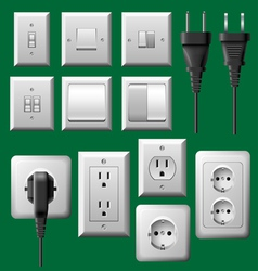 Power outlet light switch and electrical plug set vector image