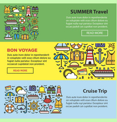 Summer travel and sea cruise vacation web banners vector