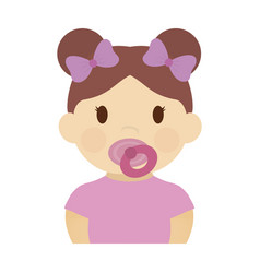 Cute baby girl icon vector