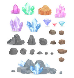 natural crystals and stones set vector image