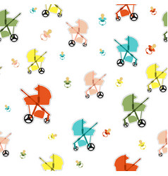 Seamless pattern with baby carriage vector