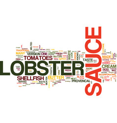 Lobster sauce text background word cloud concept vector