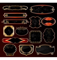 Decorative black golden frames labels vector image