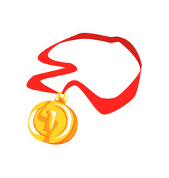 Gold first place medal cartoon vector