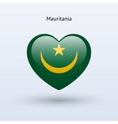 Love mauritania symbol heart flag icon vector