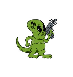 Alien dinosaur holding ray gun cartoon vector