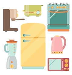 Kitchen appliances icons set kitchenware equipment vector