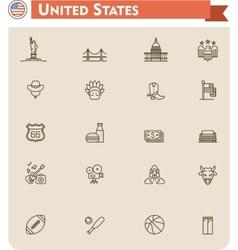 United States travel icon set vector image
