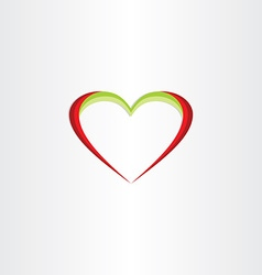 Red green heart icon vector
