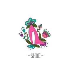 Stylized womens shoes in the flowers vector