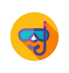 Diving mask flat icon with long shadow vector