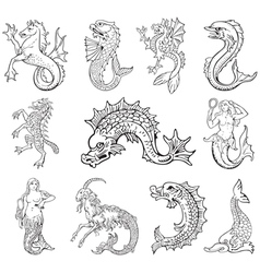 heraldic sea monsters vector image