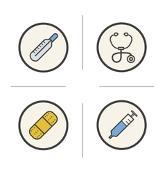 Medical equipment color icons set vector